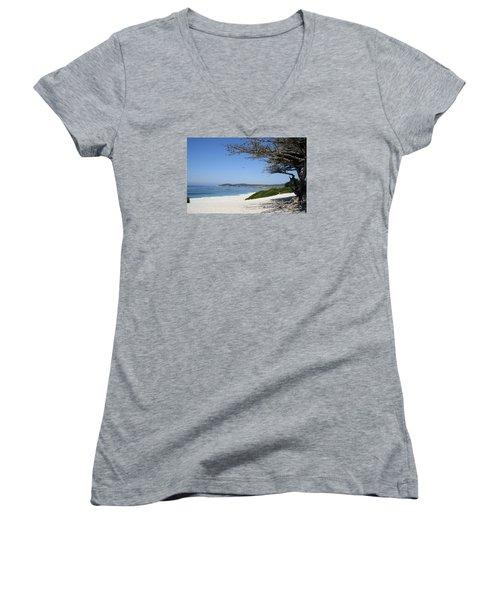 White Beach At Carmel Women's V-Neck T-Shirt (Junior Cut) by Christiane Schulze Art And Photography