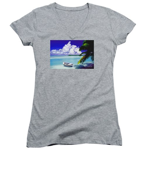 White Boat On A Tropical Island Women's V-Neck T-Shirt (Junior Cut) by David  Van Hulst