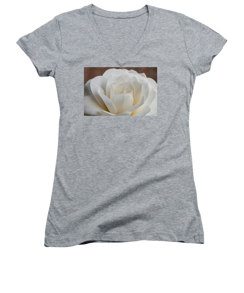 White Camellia Women's V-Neck (Athletic Fit)