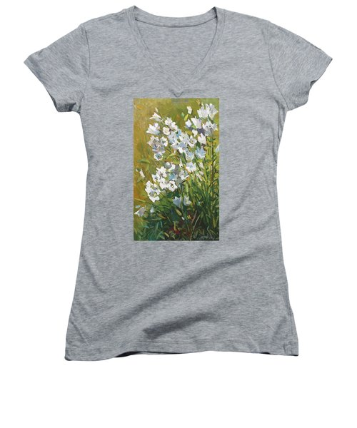 White Campanulas Women's V-Neck T-Shirt