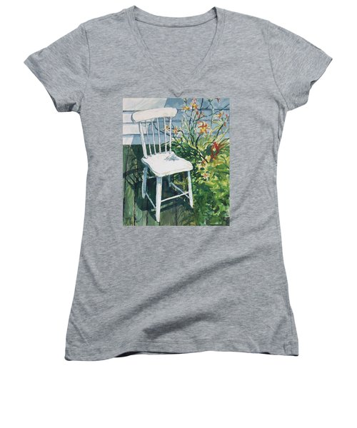 White Chair And Day Lilies Women's V-Neck T-Shirt (Junior Cut) by Joy Nichols