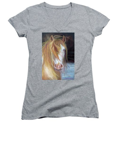 Women's V-Neck T-Shirt (Junior Cut) featuring the painting White Chocolate Stallion by Karen Kennedy Chatham