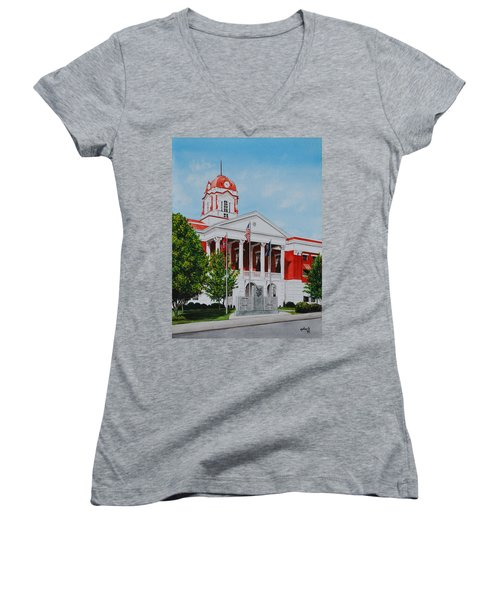 White County Courthouse - Veteran's Memorial Women's V-Neck