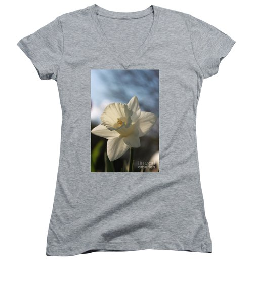 White Daffodil Women's V-Neck (Athletic Fit)