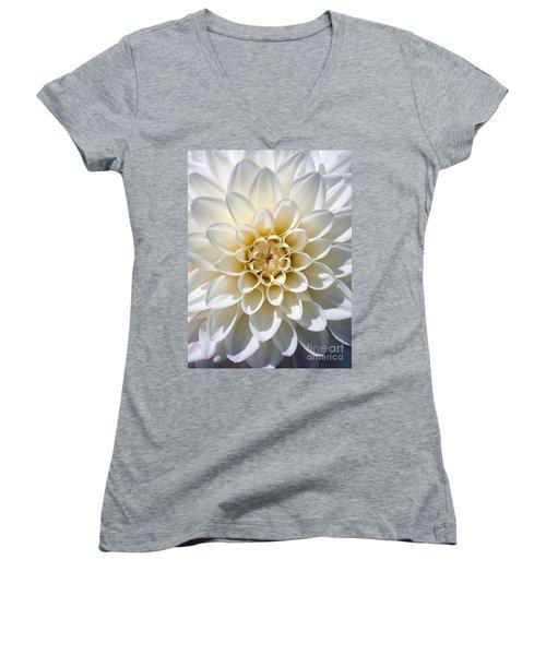 White Dahlia Women's V-Neck T-Shirt (Junior Cut) by Carsten Reisinger