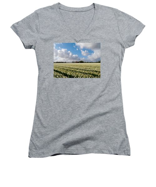 Women's V-Neck featuring the photograph White Field by Luc Van de Steeg