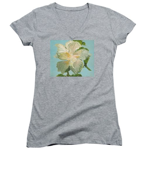 White Hibiscus Women's V-Neck (Athletic Fit)