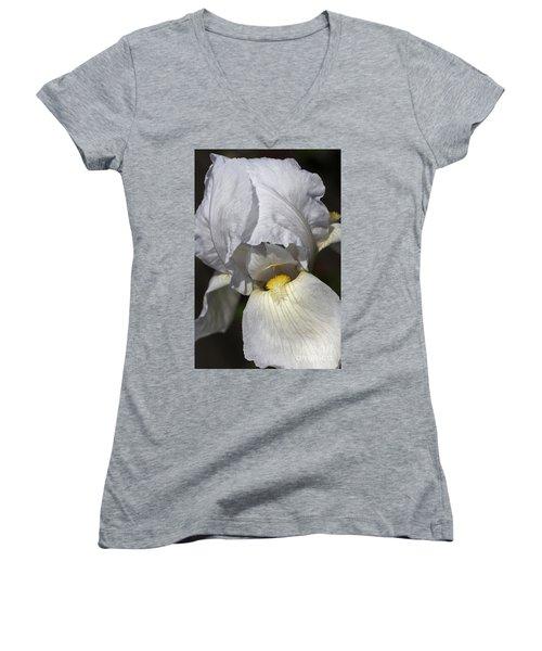 Women's V-Neck T-Shirt (Junior Cut) featuring the photograph White Iris by Joy Watson