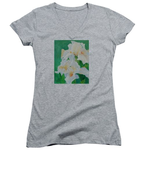 White Irises Original Oil Painting Iris Cluster Beautiful Floral Art Women's V-Neck T-Shirt