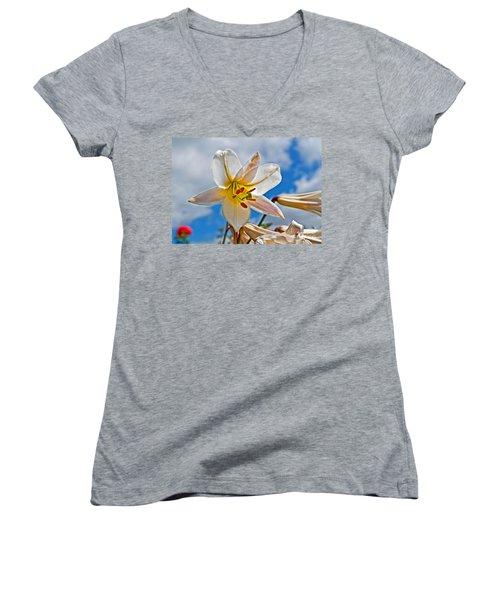 White Lily Flower Against Blue Sky Art Prints Women's V-Neck T-Shirt (Junior Cut) by Valerie Garner