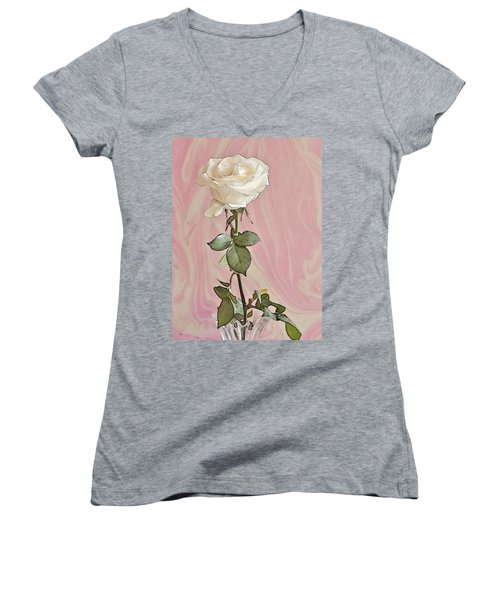 Women's V-Neck T-Shirt (Junior Cut) featuring the photograph White Long Stemmed Rose by Sandra Foster