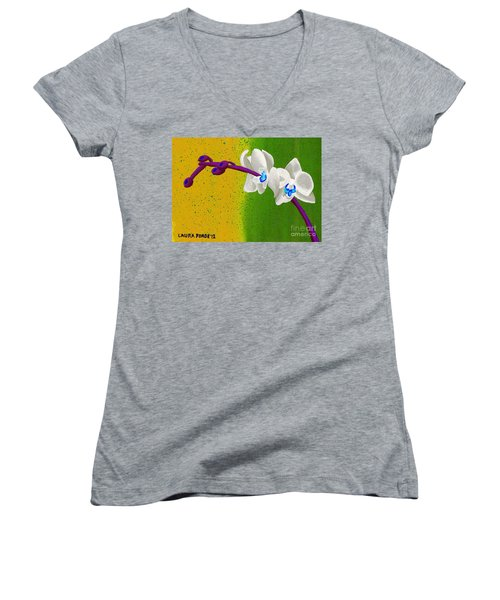 Women's V-Neck T-Shirt (Junior Cut) featuring the painting White Orchids On Yellow And Green by Laura Forde