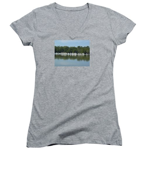 Women's V-Neck T-Shirt (Junior Cut) featuring the photograph White Pelicans by Robert Nickologianis
