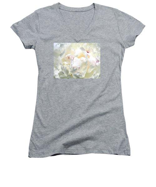 White Peony Women's V-Neck T-Shirt (Junior Cut) by Will Borden