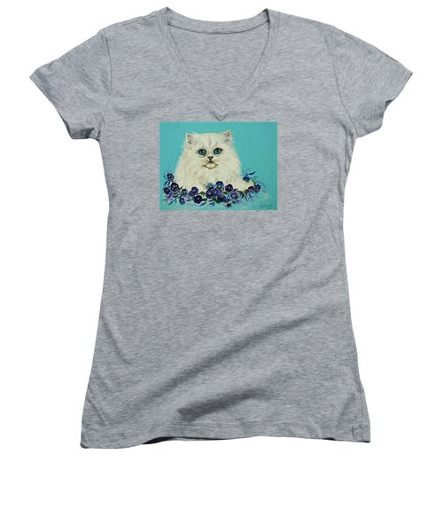 Women's V-Neck T-Shirt (Junior Cut) featuring the painting White Persian In Pansy Patch Original Forsale by Bob and Nadine Johnston