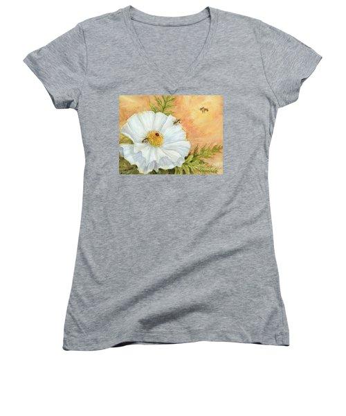 White Poppy And Bees Women's V-Neck