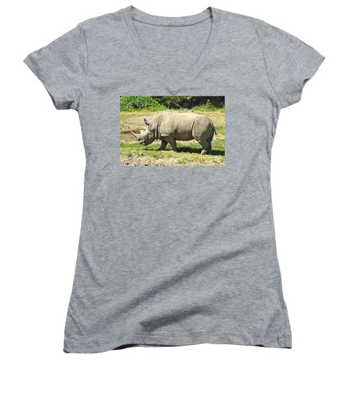 White Rhinoceros Grazing Women's V-Neck T-Shirt