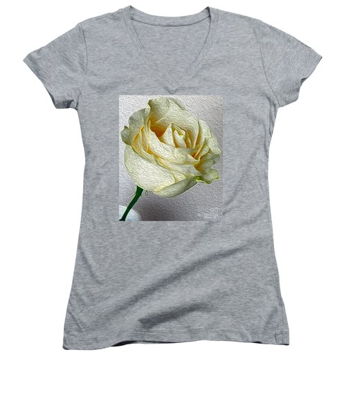 Women's V-Neck T-Shirt (Junior Cut) featuring the photograph White Rose In Oil Effect by Nina Silver