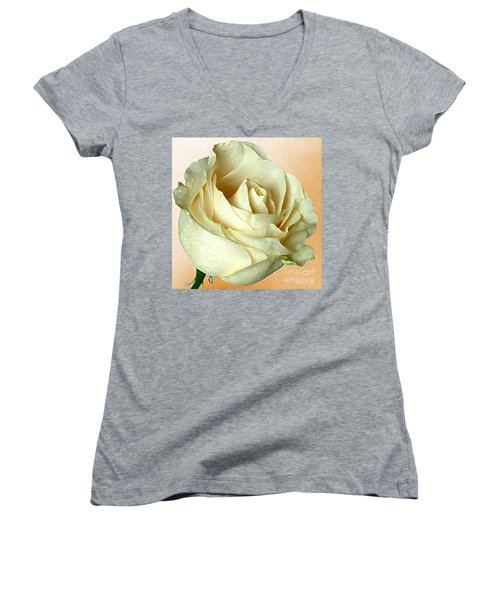 Women's V-Neck T-Shirt (Junior Cut) featuring the photograph White Rose On Sepia by Nina Silver