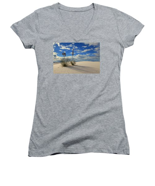 White Sands Afternoon 2 Women's V-Neck T-Shirt (Junior Cut) by Alan Vance Ley