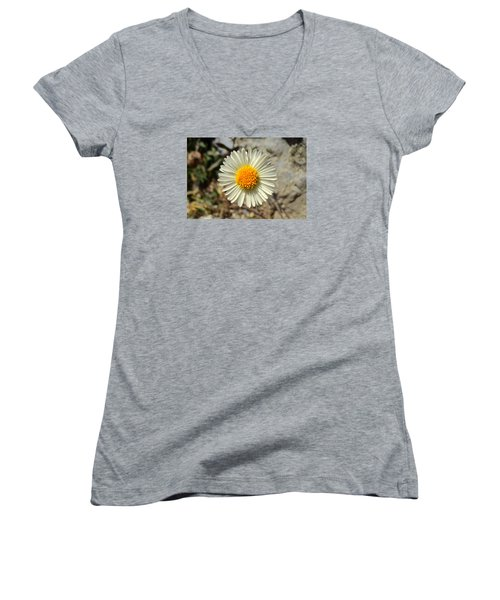 White Wild Flower Women's V-Neck (Athletic Fit)