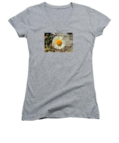 White Wild Flower Women's V-Neck T-Shirt