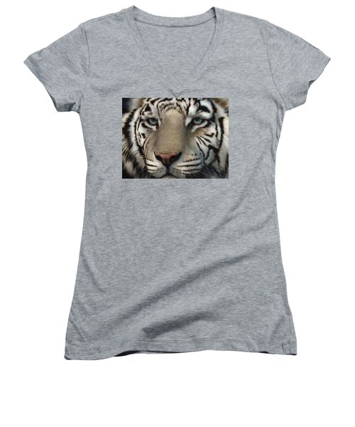 White Tiger - Up Close And Personal Women's V-Neck T-Shirt
