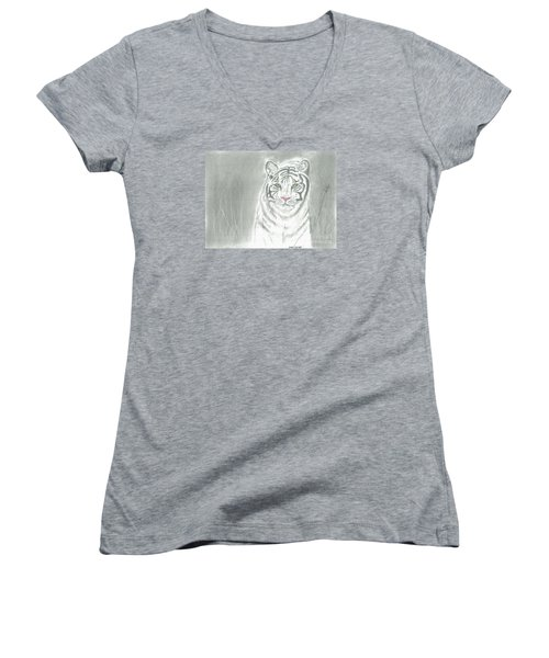 White Tiger Women's V-Neck T-Shirt