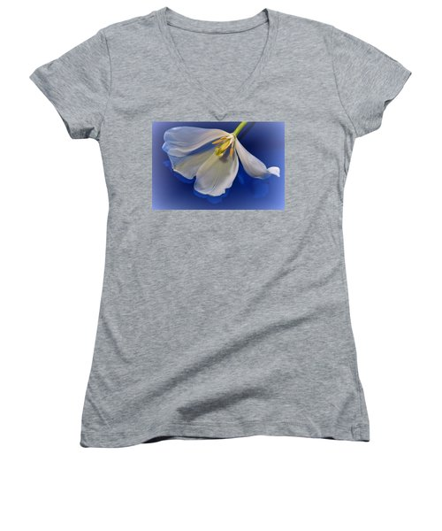 White Tulip On Blue Women's V-Neck (Athletic Fit)