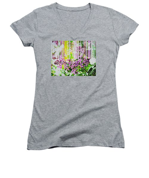 Women's V-Neck T-Shirt (Junior Cut) featuring the photograph White Washed Painted Lilac by Judy Palkimas