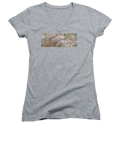 Women's V-Neck T-Shirt (Junior Cut) featuring the photograph White Wild Flowers by Fortunate Findings Shirley Dickerson