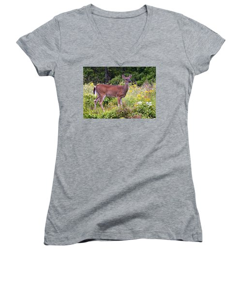 Whitetail Deer Women's V-Neck (Athletic Fit)
