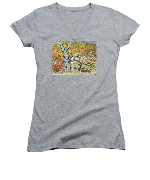 Women's V-Neck T-Shirt (Junior Cut) featuring the painting Whitetails And White Oak Tree by Jeffrey Koss