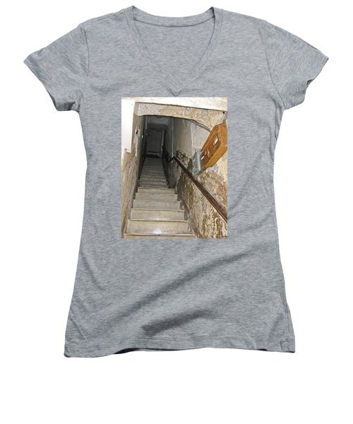 Women's V-Neck T-Shirt (Junior Cut) featuring the photograph Who Lives Here? by Allen Sheffield