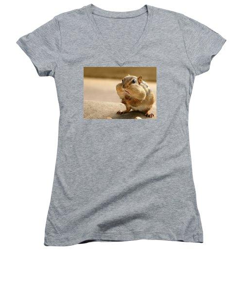 Who Me Women's V-Neck T-Shirt (Junior Cut) by Lori Deiter