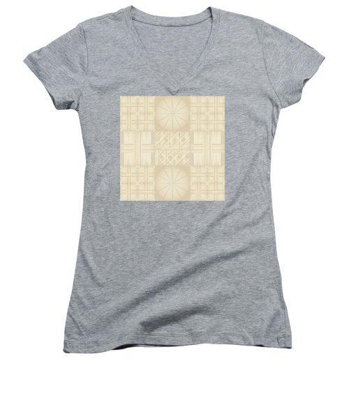 Wicker Quilt Women's V-Neck T-Shirt (Junior Cut) by Kevin McLaughlin