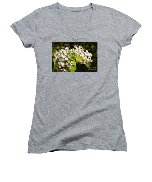 Wild Plum Blossoms Women's V-Neck T-Shirt (Junior Cut) by Ella Kaye Dickey