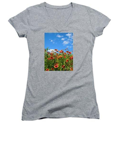 Women's V-Neck T-Shirt (Junior Cut) featuring the photograph Wild Red Daisies #5 by Robert ONeil