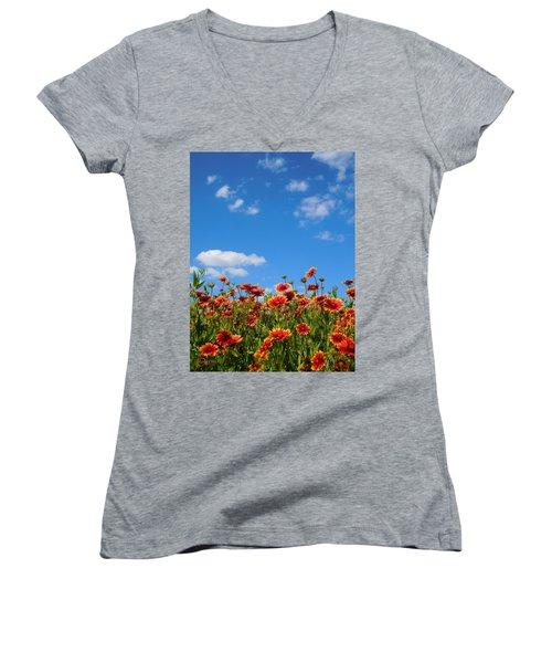 Women's V-Neck T-Shirt (Junior Cut) featuring the photograph Wild Red Daisies #6 by Robert ONeil