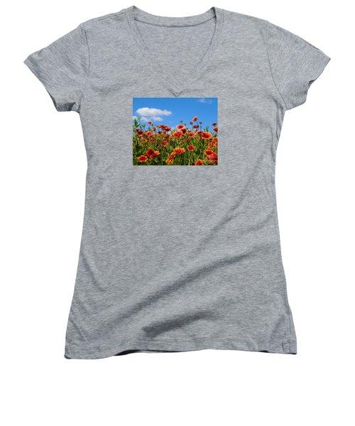 Women's V-Neck T-Shirt (Junior Cut) featuring the photograph Wild Red Daisies #7 by Robert ONeil