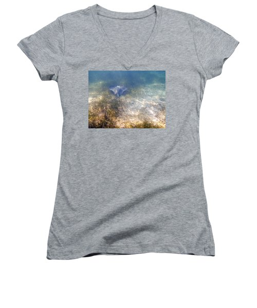 Women's V-Neck T-Shirt (Junior Cut) featuring the photograph Wild Sting Ray by Eti Reid