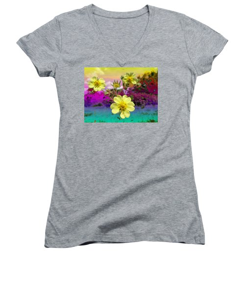 Wildflower Abstract Women's V-Neck T-Shirt