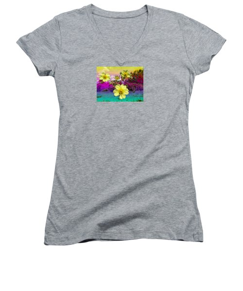 Wildflower Abstract Women's V-Neck (Athletic Fit)
