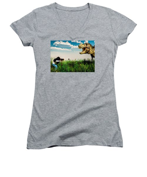 Wildlife Photographer  Women's V-Neck (Athletic Fit)