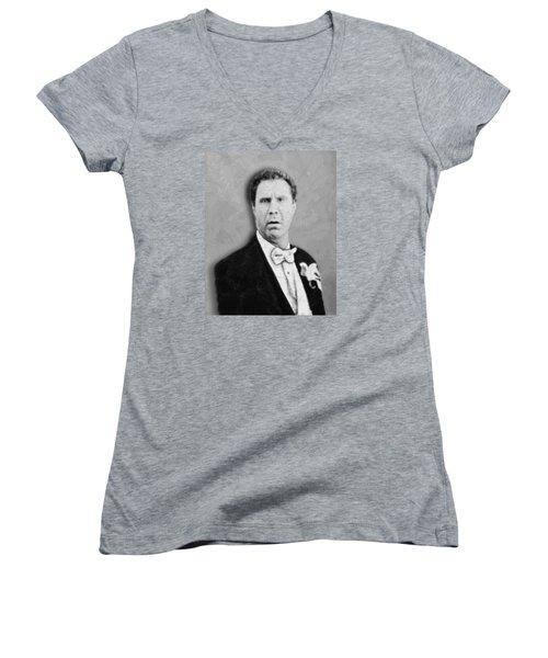 Will Ferrell Old School  Women's V-Neck T-Shirt (Junior Cut) by Tony Rubino