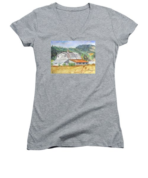 Women's V-Neck T-Shirt (Junior Cut) featuring the painting Willamette Valley Barn by Carol Flagg
