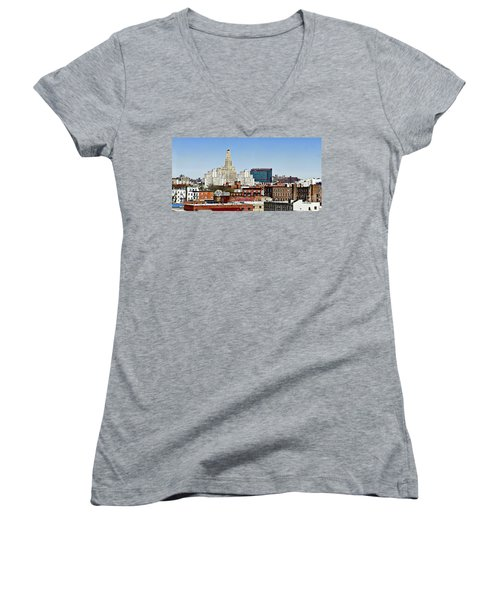 Williamsburg Savings Bank In Downtown Brooklyn Ny Women's V-Neck (Athletic Fit)
