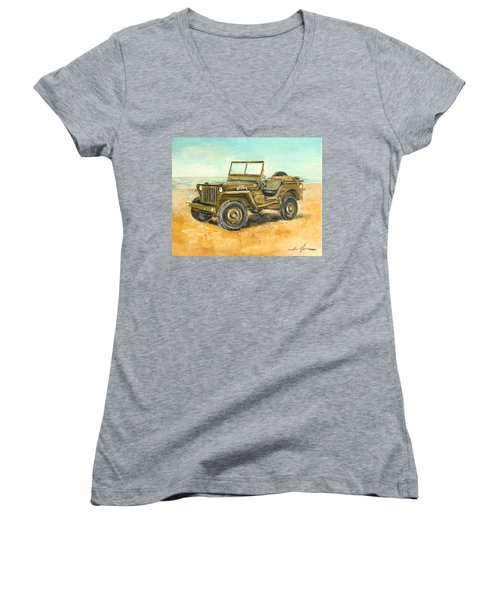 Willys Jeep Women's V-Neck (Athletic Fit)