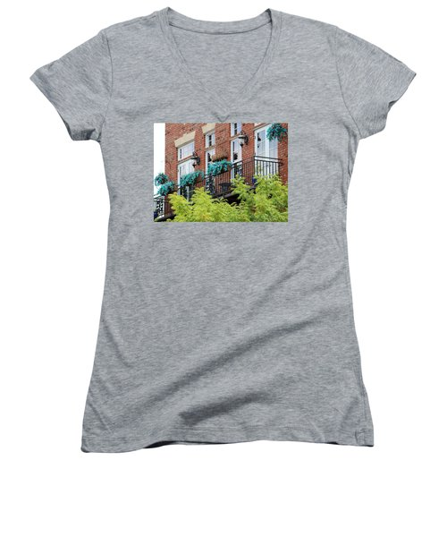 Blue Flowers On A Balcony  Women's V-Neck (Athletic Fit)