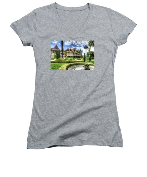 Winchester Mystery House Women's V-Neck T-Shirt (Junior Cut) by Jim Thompson